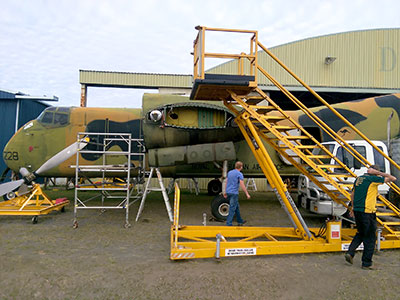 Caribou A4-228 at AAHC Qld hanager ready for reassembly